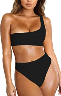FAFOFA Women Sexy One Shoulder Crop Top High Waist Two Piece Bikini Sets  Swimsuit 898b851f0f2