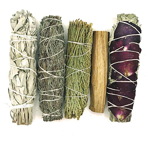 Blessed Ember Love Smudge Stick Sampler Kit with Flower Rose Petal Garden Sage, Lavender, White Sage, Cedar and Palo Santo for Cleansing Negativity, Meditation and Natural Incense