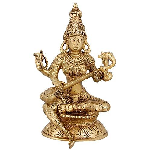 Religiöse Messing Figuren für Puja Saraswati Hindu Decor 20,3cm 1.62kg