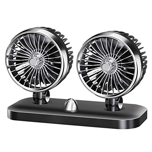 Bodhi2000 Ventilador De Pie De Bajo Ruido De 12/24 V, Ventilador De Aire De Refrigeración De Verano Silencioso De Doble Cabezal Giratorio para Vehículo, Camión, Negro, 12 V Negro 24V
