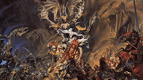 HAOQIPA Decoración De Pared 5 Piezas Imprime En Lienzo HD Cuadro Moderna Inicio Decoración Lienzos para Colgar(con Marco) Demonio Esqueletos Soldados Caballos de batalla-200 * 100CM