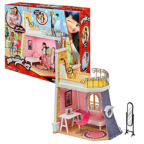 BANDAI P50660 Tales of Ladybug & Cat Noir Miraculous-Marinettes Zimmer-Spielwelt kompatibel mit 26 cm Puppen, Keine