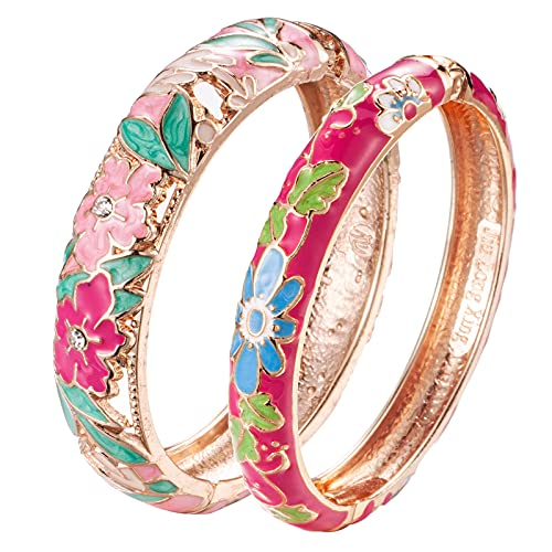 UJOY Vintage Cloisonne Bracelet Filigree Flower Enamel Hinge Gold Plated Hollowed Bangles Jewelry for Womens Gifts 88A12 Peony Pink