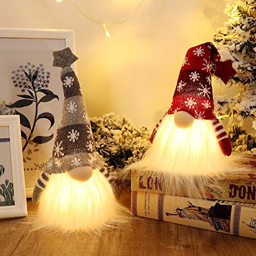 GMOEGEFT Scandinavian Christmas Gnome Lights with Timer, Swedish Santa Tomte Gnome, Nordic Xmas Decoration - Set of 2 (Red & Grey), 11 x 4 Inches