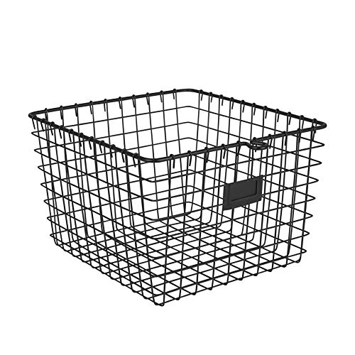 Spectrum Diversified Wire, Vintage Locker Basket Style, Rustic Farmhouse Chic Steel Storage for Closets, Pantry, Kitchen, Garage, Bathroom & More, Medium, Pack of 1, Black