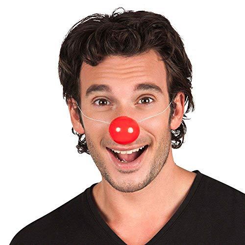 Boland 42057 - Clown-Nase aus Plastik, mit Gummiband, 6 Stück, Rot, super halt, Spaßmacher, Accessoire, Party, Karneval, Kostüm, Clown