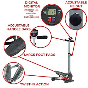 Sunny Health & Fitness SF-S0637 Twist-In Stepper Step Machine w/ Handlebar and LCD Monitor