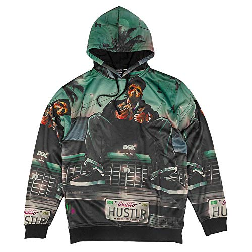 Unbekannt DGK Men's Hustlin Sublimated Fleece Long Sleeve Hoodie Multi-Color 3XL