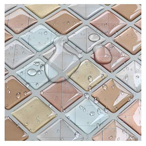 Yoilline タイルシール ブルー 賃貸 ウォールステッカー 耐熱 防水 タイル 3D シール 簡単取付 モザイクタ...