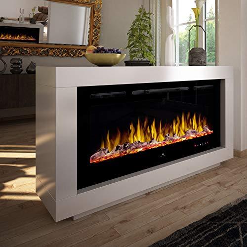 Noble Flame Nevada – moderner Design Elektrokamin Raumteiler beidseitig – LED Feuerambiente inkl. Heizfunktion – Feuerraum 97 cm - schwarz