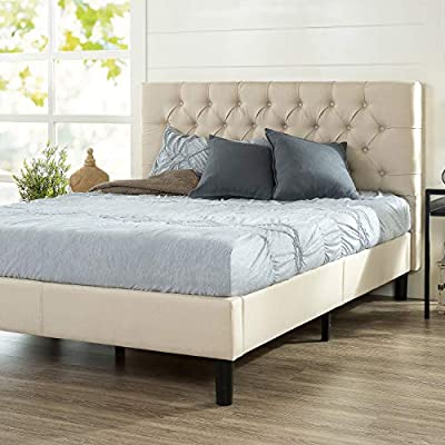 Zinus Misty Platform, Queen, Taupe - TIMELESS ELEGANCE - Give an instant pick-me-up to your bedroom with this cozy, button-tufted masterpiece, available in multiple shades so matching your existing decor is a piece of cake DURABLY DESIGNED - Interior steel framework and dense foam padding add comfort and longevity; twin size supports a maximum weight capacity of 250 lbs, while all other sizes can support up to 500 lbs NO BOX SPRING NEEDED - Durable wood slats support and extend the life of your latex, memory foam or spring mattress without the need for a box spring; slats are spaced 2.2 - 2.8 inches apart - bedroom-furniture, bedroom, bed-frames - 51M3tQZ UlL. SS400  -