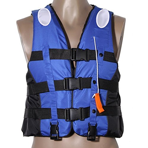 Life Jacket Life Vests Swimming Vest Children and Adult Life Jacket Buoyancy Aid Universal Swimming Boating Kayaking Life Vest+Whistle (Blue, M 6-12 Years Old)