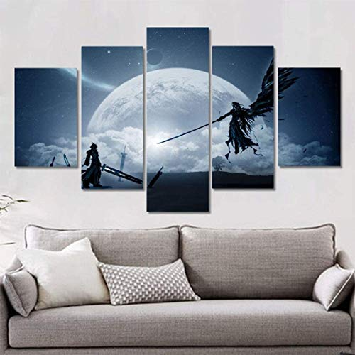 ZYUN 5 Pieces Wall Art Canvas Paintings Final Fantasy Gam Art Silk Poster Prints Stickers Pictures Bedroom Living Room Decor,40×60×2+40×80x2+40×100×1