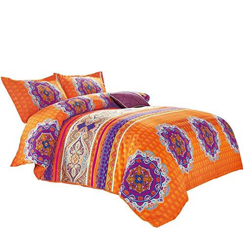 Wake In Cloud - Mandala Comforter Set, Orange Bohemian Boho Chic Medallion Pattern Printed, Soft Microfiber Bedding (3pcs, Queen Size)