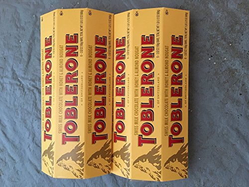 TOBLERONE ( 2 Pack )6-3.52oz ( 12 Total Bars ) Of Each Of SWISS MILK CHOCOLATE WITH HONEY & ALMOND NOUGAT