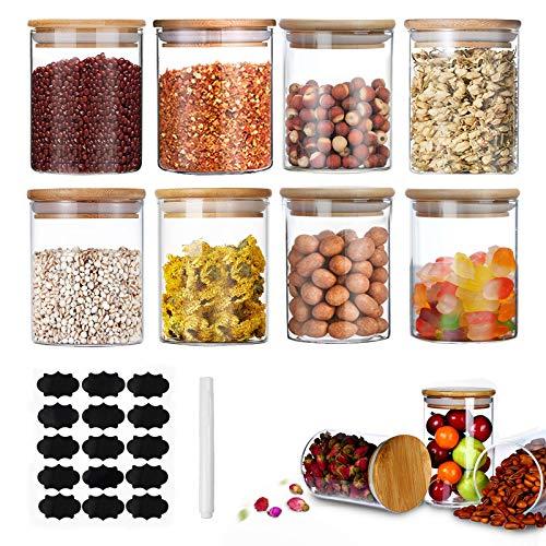 Surmounty Mini Gläser 8Pcs Gewürzgläser, 200ML Glasbehälter Gewürzdosen mit Bambus Deckel, Etikett, Stiften, Luftdicht Vorratsgläser Glas Dosen für Tee, Kräutern, Zucker, Gewürz, Salz