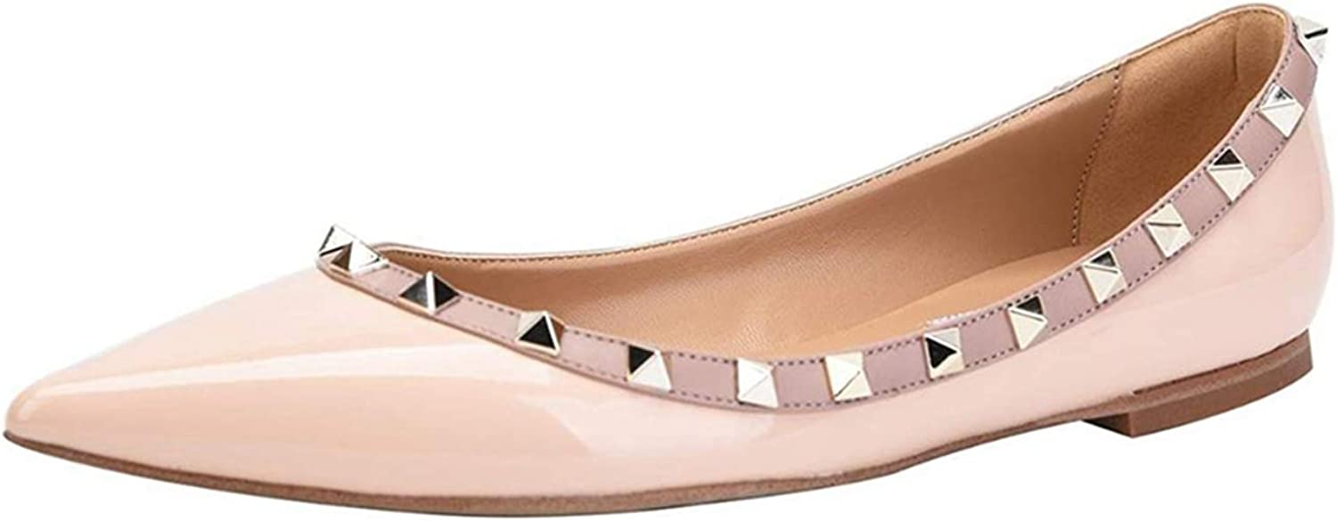 Jocbinltd Women shoes Rivets Flats Pointed Toe Ladies shoes Slip On Flat Heels Casual shoes Summer Women shoes Pink
