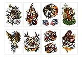 PAMO - 8 hojas de tatuaje temporal, autoadhesivas, color negro, serpiente, lobo, perro de tigre, búho, aguja, adhesivo de tatuaje para hombres y mujeres, impermeables