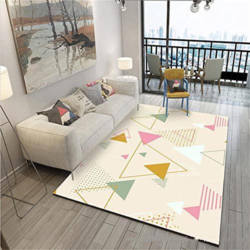 Moqueta Para El Suelo Alfombras Lavables Salon Rosa amarillo triangular diseño diseño moderno de la sala de estar de la sala de estar de la sala de seguridad lavado portátil lavado de la máquina Alfom