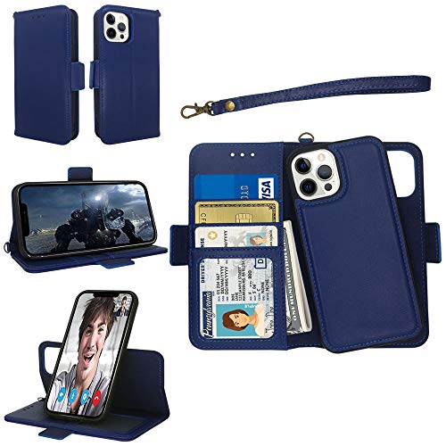 Samgg Genuine Leather Case for iPhone 12 Pro Max, Magnetic Detachable Wallet Case with Tempered Glass and Wrist Strap, 2-Way Stand, Card Holder, Folio Flip Cover for iPhone 12 Pro Max (Blue)