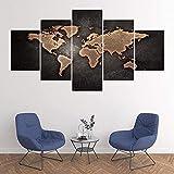 KOPASD HD 5 Piezas Arte Pintura Mapa del Mundo Retro Fotos Prints en Lienzo la Imagen Decor para decoración de hogar Moderno(Sin tamaño de Marco 200x100cm)
