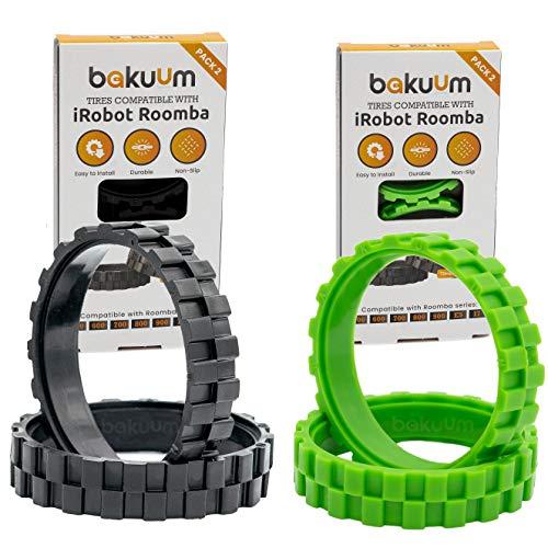 EPIEZA Pack de pneus pour iRobot Roomba Series 500 600 700 800 900 i7 e5 s9, gamme complète de toutes les séries Antidérapant, évite les bruits, pour tous types de sols (Pack vert + noir)