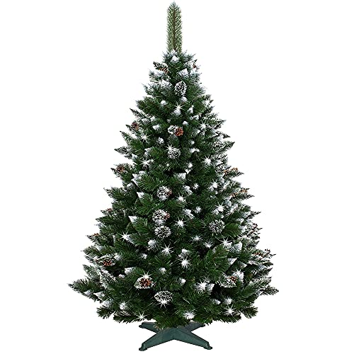 SPRINGOS Sapin de Noël artificiel diamant 180 cm avec pommes de pin, aspect givré, qualité supérieure, fabriqué en UE (hauteur : 180 cm)