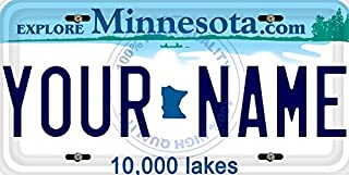 BleuReign(TM) Personalized Custom Name Minnesota State Car Vehicle License Plate Auto Tag (ALL STATES AVAILABLE)