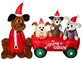 Gemmy 5 ft Tall Christmas Airblown Inflatable Mixed Media Wagon Full of Puppies Scene w/LED