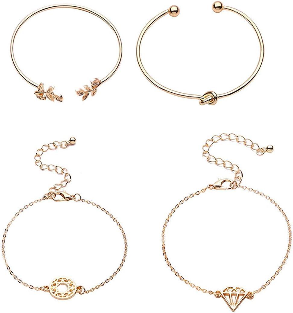 GOMYIE 4Pcs Bangle Bracelets for Women Girls Diamond|Olive Leaf|Knot Heart Open Cuff Bracelet Set Adjustable(gold)