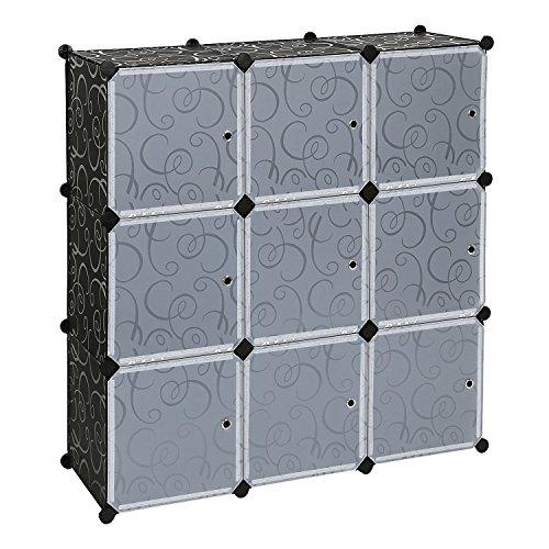 Bricok Armadietto Modulare, Armadio Scarpiera Guardaroba Modulare Quadrato, 112 x 112 x 37 cm, Modulare 9 Scomparti, Nero