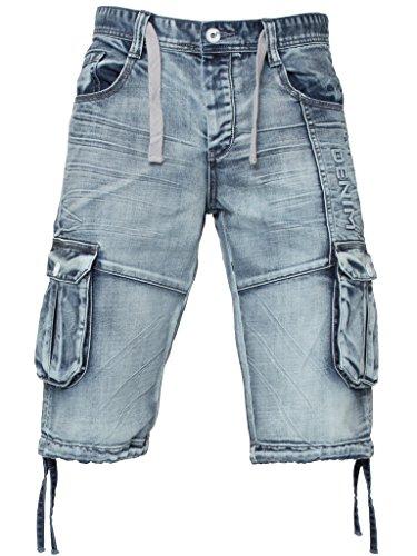 ETO Designer Herren Cargo Combat Säurewaschung Jeans Sommer Shorts 28-48 - Herren, ACID WASH, 28 Waist x Regular