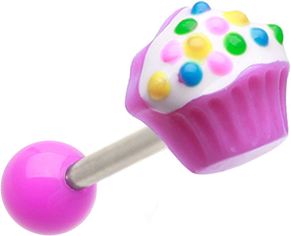 Super Cute Purple Cupcake UV Shape Stainless Steel Barbell Tongue Ring Body Piercing Jewelry bar - 14g