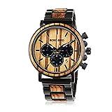 BOBO BIRD メンズ 人気 のカジュアルな手首腕時計 木製&ステンレススチール 軽量 クロノグラフ機能 木製のギフトボックス (ブラック)