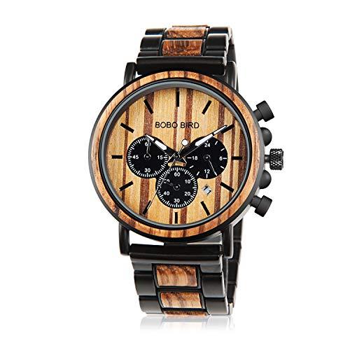 BOBO BIRD Relojes de madera para hombre elegantes de madera y acero inoxidable combinados cronógrafo militar de cuarzo casual relojes de pulsera