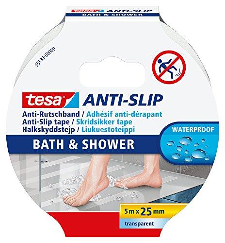 tesa® Banda Antideslizante para baño y Ducha, Transparente