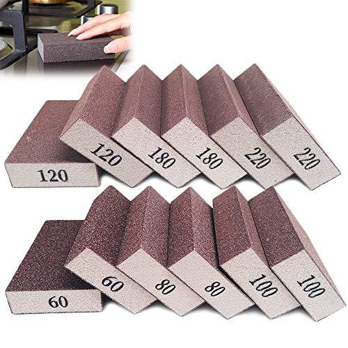 12 Pack Sanding Sponges,Wet Dry Sanding Blocks,Coarse Medium Fine Sand Foam Sandpaper in 60/80/100/120/180/220 Grits for Metal Polish,Wood,Drywall,Pot Pan Brush