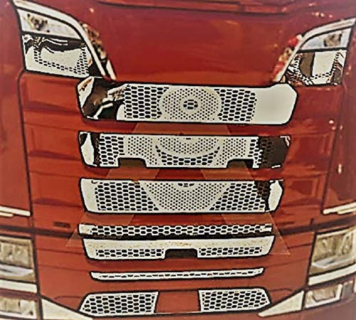 Front Grill Mesh Abdeckungen hochglanzpoliert Edelstahl Dekor V8 für SCANIA S 2016+ mit DRLs