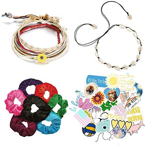 VSCO Girl Stuff Pack - 5 boho-chique bedelarmbanden, 1 Visco Girl Puka-halsketting-choker, 50 unieke kolfstickers, 7 fluwelen scrunchies