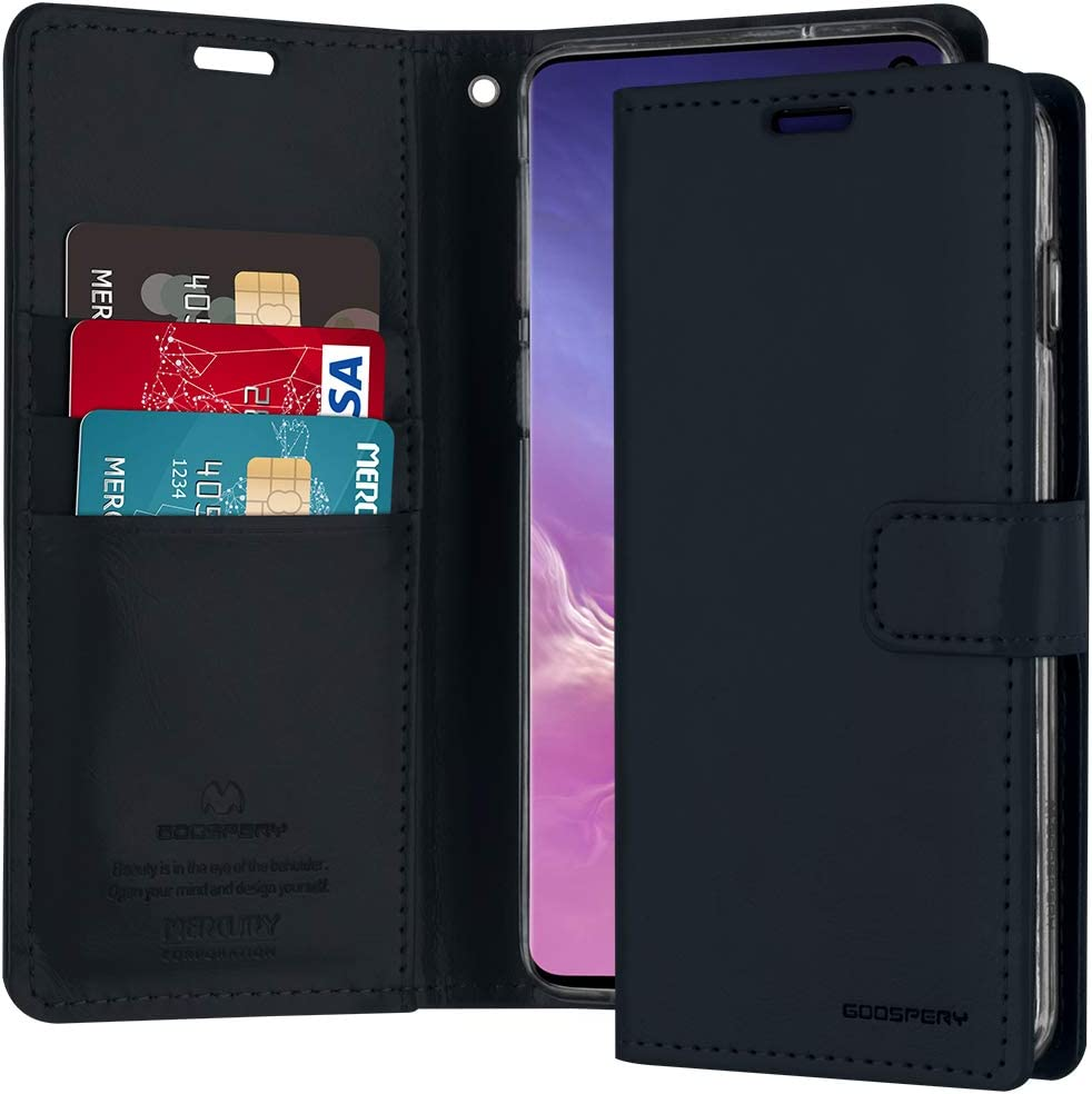 Goospery Blue Moon Wallet for Samsung Galaxy S10 Case (2019) Leather Stand Flip Cover (Dark Navy) S10-BLM-NVY