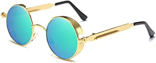 Fashion Green/Pink Lens Gold Frame Female Color Film Sunglasses Fashion Personality Large Frame Polarized Metal Material Sunglasses Retro (Color : Green)