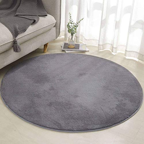 Round Area Rug, Shaggy Fluffy Non-Slip Washable Rug Ultra Soft Comfy Thick Plush Carpet Great for Living Room Bedroom Kids Room-Diameter:200cm(79inch)-Dark Gray