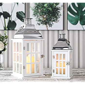 "JHY DESIGN Set of 2 White Wood Decorative Candle Lanterns 18""&12"" High Wood Lanterns for Indoor Outdoor Events Parities and Weddings Vintage Style Hanging Lantern (White Wood, Silver Stainless Steel)"