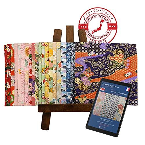ORIGAMI WASHI lot 20 verschiedene traditionelle japanische Papiere - Made in Japan - Hohe Qualität - Handgemacht - ausgewählte Muster und Farben + EBOOK Fr/En Bedeutung aller Muster