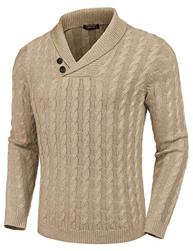COOFANDY Men's Shawl Collar Pullover Sweater Slim Fit Casual Button Cable Knit Sweaters Khaki