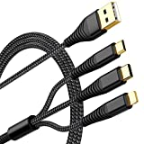 [Upgraded] Multi Charging Cable 2Pack 5ft Nylon Braided Universal 3 in 1 Multiple Ports Devices USB Charger Cord with Gold-Plated iOS/Type C/Micro USB Connectors for Phones Tablets (Charging Only)