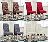 MCC Set of 2 Linen Fabric Dining Chairs Roll Top Scroll High Back For Home & Commercial Restaurants [Brown* Grey* Red* Blue*] (D)(Red) (Grey)