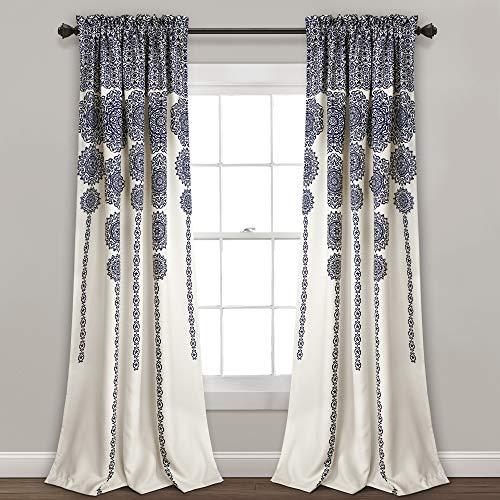 "Lush Decor Stripe Medallion Curtains Fabric Mandala Bohemian Damask Print Room Darkening Window Panel Set for Living, Dining, Bedroom (Pair), 95"" L x 52"" W, Navy"