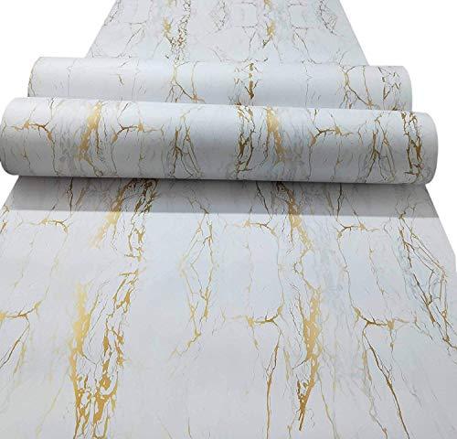 ELTON Vinyl Self Adhesive White & Gold Matt Marble Wallpaper, 24 x 60 Inch