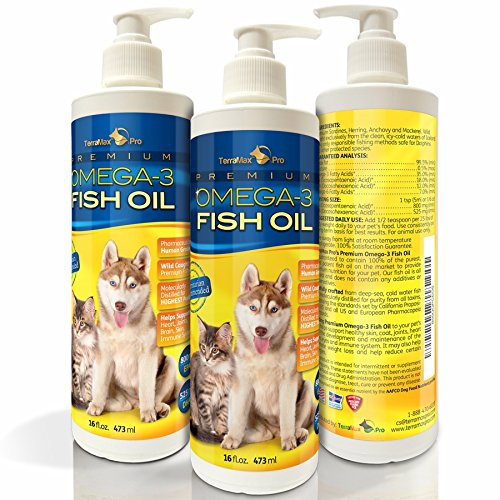 TerraMax Pro Liquid Omega-3 Fish Oil for Dogs and...